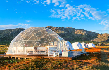 Glamping tents in the Arctic on the Kola peninsula Wall mural