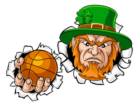 A leprechaun basketball sports mascot holding a ball and tearing through the background.