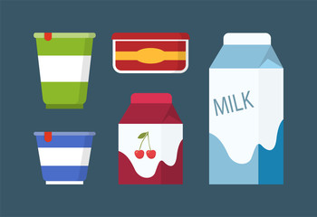Dairy and Milk Products Set in Cartoon Style.