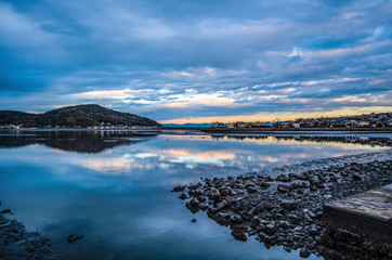 Evening view of Fukuoka west ward Zuibaiji river estuary landscape HDR picture