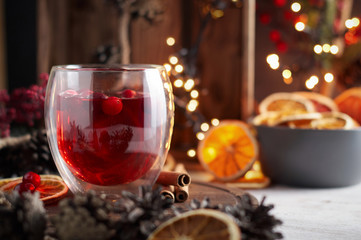 Glass of mulled wine with cranberry. Christmas or New Year drink
