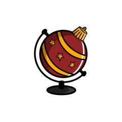 Christmas red bauble with golden stars in globe shape, isolated on white. Hand drawn illustration of christmas ball as globe, worldwide seasonal greetings. Merry Christmas