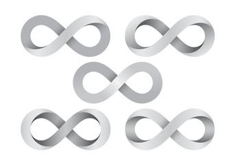 Set of Infinity signs made of different types of torsion. Vector illustration. Wall mural
