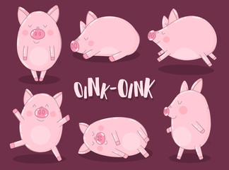 A collection of six funny pigs on a burgundy background with the word oink. Vector illustration for New Year, Christmas, prints, invitations, flyers, cards, children, clothes, decor, interior