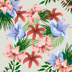 Tropical flower seamless vector pattern, floral fashionable tropic background for fabric textile, exotic hawaiian floral texture for print, trendy natural hand drawn leaves for fashion textile