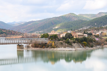 beautiful reservoir at spanish countryside