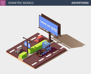 Outdoor Advertising Concept with Billboard. Vector Isometric Illustration.