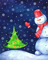 hand drawn illustration of funny snowman and christmas tree in snowy night. Watercolor greeting card
