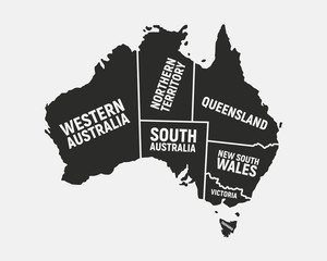 Wall Mural - Australia poster map with states names. Australian background. Map of Australia.  Print for T-shirt, typography. Vector illustration