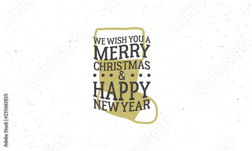 merry christmas and happy new year 2019 sticker stamp vintage poster with text and