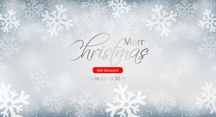 Merry Christmas winter sale brochure Vector. Snowflakes backgrounds