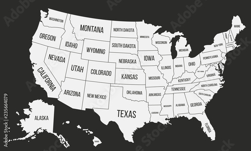 United States of America map. Poster map of USA with state ...