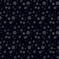 Snowflake simple seamless pattern. Black snow on white background. Abstract wallpaper, wrapping decoration. Symbol of winter, Merry Christmas holiday, Happy New Year celebration Vector eps10