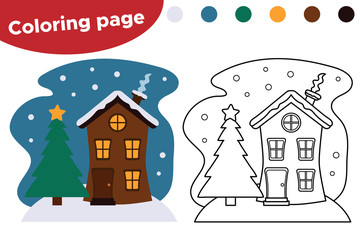 Coloring page for preschool kids. Cute cartoon winter house with Christmas tree. Vector illustration.