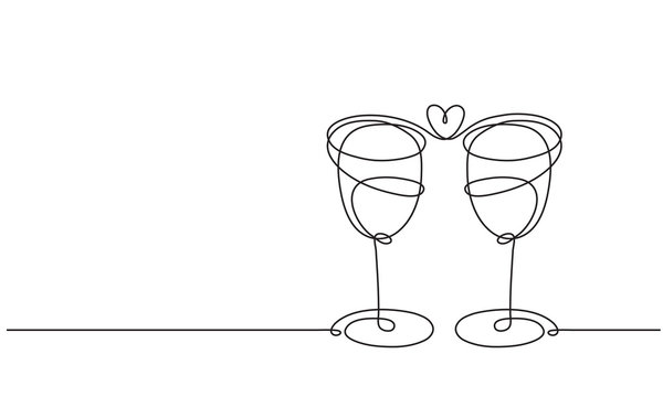 Wine glasses and heart. Line drawing.