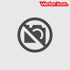 Camera icon isolated sign symbol and flat style for app, web and digital design. Vector illustration.