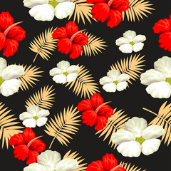Tropical flower seamless vector pattern, floral fashionable tropic background for fabric textile, exotic hawaiian floral texture for print, trendy natural leaves for fashion textile on black