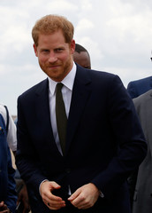Britain's Prince Harry arrives at Kenneth Kaunda International Airport in Lusaka