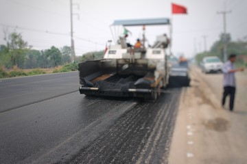 Road construction in Thailand, picture blurred