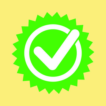 Green approved star sticker vector illustration isolated