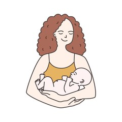 Portrait of happy smiling mother holding infant baby isolated on white background. Young woman carrying newborn child. Parenting, maternity, neonatal care and nursing. Colorful vector illustration.