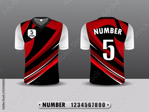 c04f493a Football shirt design T-shirt sports black and red color. Inspired by the  abstract