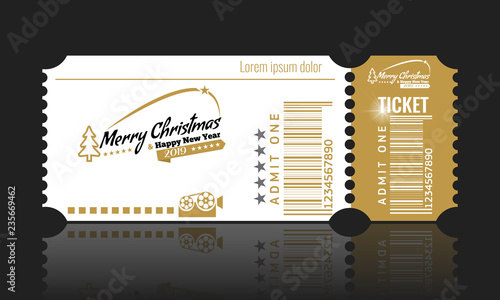 christmas or new year party ticket card design template vector illustraton white and golden