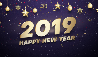 Happy New Year 2019 poster with golden Christmas decorations and confetti.