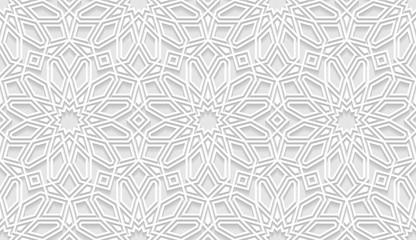 Vector white islamic horizontal background. Seamless oriental volumetric pattern with shadow.