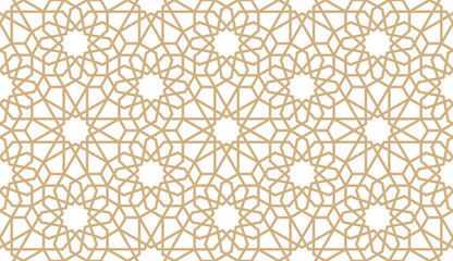 Seamless gold oriental pattern. Islamic horizontal background. Arabic linear texture. Vector illustration.