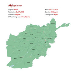 Detailed map and infographic of Afghanistan