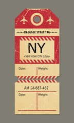 Vintage luggage tag, retro travel New york city, country label.