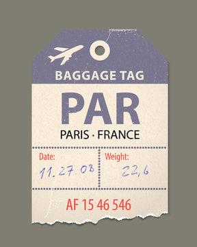 Vintage luggage tag, vintage retro travel Paris france, country label.
