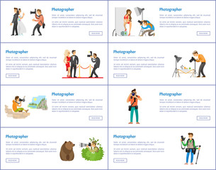 Photographer Profession and Hobby Web Banners Set