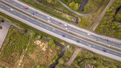 Aerial view of four lane motorway