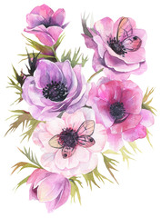Hand drawn watercolor flowers. Tender bouquet with anemones and butterflies. Fine art painting.
