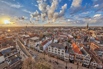 View over Groningen city at sunset