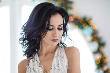 beautiful young woman at christmas