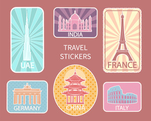 Travel Stickers of Different Places Set Vector