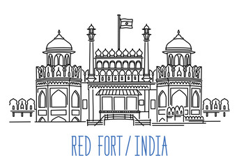 Red Fort, India. Hand drawn outline vector illustration isolated on white background