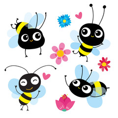 set of four cartoon bees in motion. Each bee reflects different emotion, action. Use as symbol icon element emblem for childrens books pictures and cards. Vector illustration. Hand-drawn concept