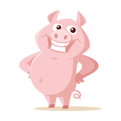 Cute pig Vector illustration isolated on white background