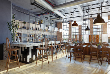 modern restaurant interior design.