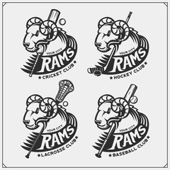 Cricket, baseball, lacrosse and hockey logos and labels. Sport club emblems with rams.