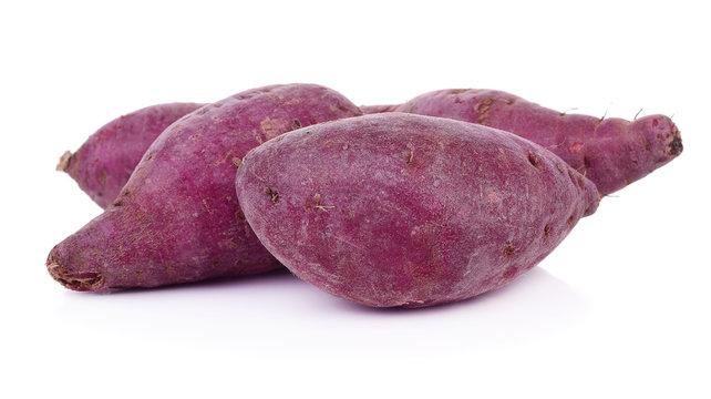 purple sweet yams isolated on white background.