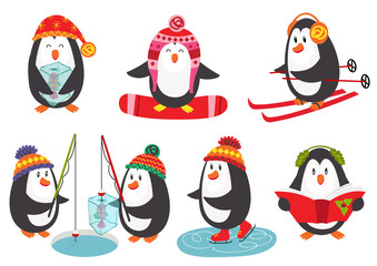 set of isolated cute penguins - vector illustration, eps