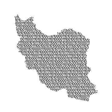 Iran map abstract schematic from black ones and zeros binary digital code. Vector illustration.