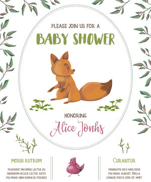 Baby shower invitation with fox, bird, flowers and leaves. Cute cartoon character. Hand drawn vector illustration in watercolor style