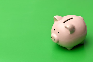 Pink piggy Bank stands on the right on a green background. On the left there is a place in copyspace