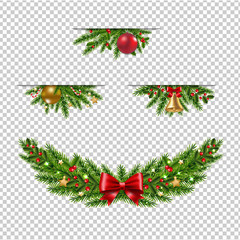 Christmas Garland Collection Transparent Background